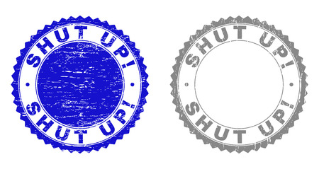 Grunge SHUT UP! stamp seals isolated on a white background. Rosette seals with grunge texture in blue and grey colors. Vector rubber stamp imprint of SHUT UP! title inside round rosette. Banque d'images - 116716768