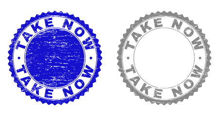 Grunge TAKE NOW stamp seals isolated on a white background. Rosette seals with grunge texture in blue and grey colors. Vector rubber stamp imprint of TAKE NOW label inside round rosette.