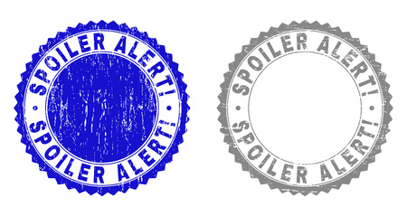 Grunge SPOILER ALERT! stamp seals isolated on a white background. Rosette seals with grunge texture in blue and gray colors. Illustration
