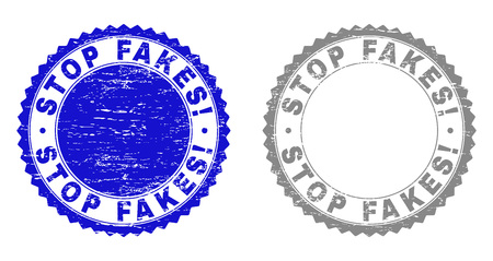 Grunge STOP FAKES! stamp seals isolated on a white background. Rosette seals with grunge texture in blue and gray colors. Vector rubber stamp imprint of STOP FAKES! text inside round rosette.