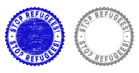 Grunge STOP REFUGEES! stamp seals isolated on a white background. Rosette seals with grunge texture in blue and gray colors. Vector rubber watermark of STOP REFUGEES! text inside round rosette.
