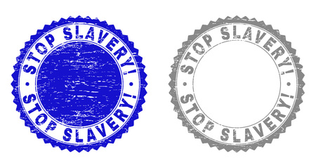 Grunge STOP SLAVERY! stamp seals isolated on a white background. Rosette seals with grunge texture in blue and gray colors. Vector rubber watermark of STOP SLAVERY! label inside round rosette.