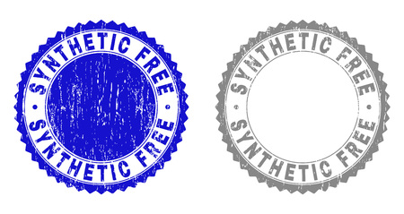 Grunge SYNTHETIC FREE watermarks isolated on a white background. Rosette seals with grunge texture in blue and grey colors. Vector rubber stamp imprint of SYNTHETIC FREE caption inside round rosette. 矢量图像