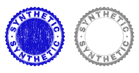 Grunge SYNTHETIC stamp seals isolated on a white background. Rosette seals with grunge texture in blue and grey colors. Vector rubber stamp imprint of SYNTHETIC title inside round rosette.
