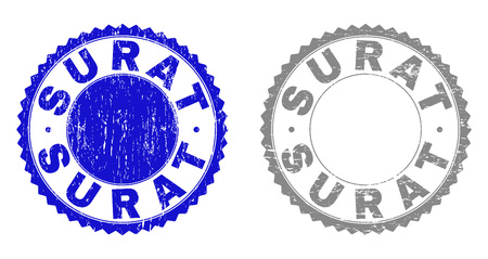 Grunge SURAT stamp seals isolated on a white background. Rosette seals with grunge texture in blue and grey colors. Vector rubber stamp imprint of SURAT caption inside round rosette.