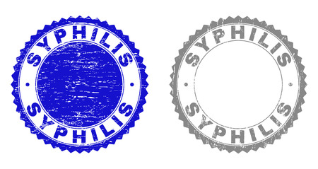 Grunge SYPHILIS stamp seals isolated on a white background. Rosette seals with grunge texture in blue and grey colors. Vector rubber stamp imitation of SYPHILIS text inside round rosette.