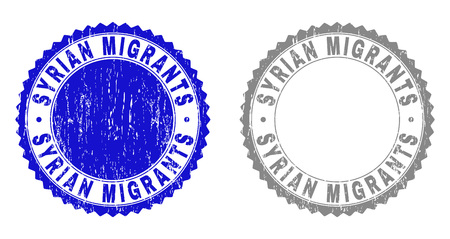 Grunge SYRIAN MIGRANTS stamp seals isolated on a white background. Rosette seals with grunge texture in blue and grey colors. Vector rubber stamp imprint of SYRIAN MIGRANTS label inside round rosette.