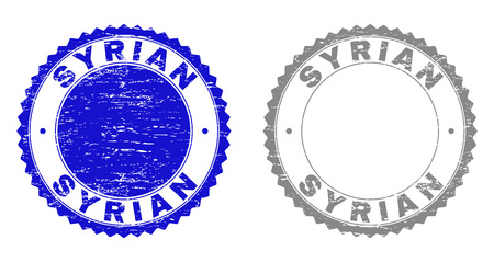 Grunge SYRIAN stamp seals isolated on a white background. Rosette seals with grunge texture in blue and grey colors. Vector rubber stamp imitation of SYRIAN title inside round rosette.