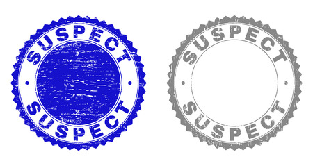 Grunge SUSPECT stamp seals isolated on a white background. Rosette seals with distress texture in blue and gray colors. Vector rubber stamp imprint of SUSPECT title inside round rosette. Vectores