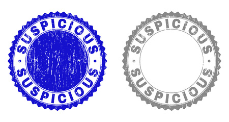 Grunge SUSPICIOUS stamp seals isolated on a white background. Rosette seals with grunge texture in blue and gray colors. Vector rubber stamp imprint of SUSPICIOUS label inside round rosette.