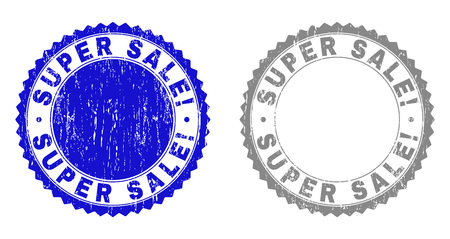 Grunge SUPER SALE! stamp seals isolated on a white background. Rosette seals with grunge texture in blue and grey colors. Vector rubber overlay of SUPER SALE! caption inside round rosette. Ilustrace