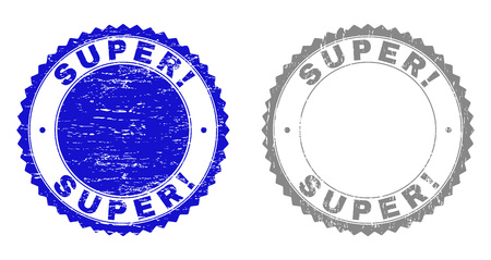 Grunge SUPER! stamp seals isolated on a white background. Rosette seals with grunge texture in blue and gray colors. Vector rubber stamp imitation of SUPER! tag inside round rosette. Ilustrace