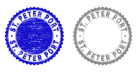 Grunge ST. PETER PORT stamp seals isolated on a white background. Rosette seals with grunge texture in blue and grey colors. Vector rubber stamp imprint of ST. PETER PORT text inside round rosette.