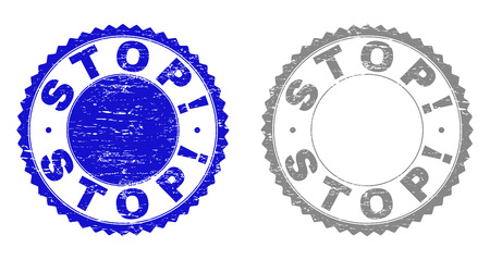 Grunge STOP! stamp seals isolated on a white background. Rosette seals with distress texture in blue and gray colors. Vector rubber stamp imitation of STOP! label inside round rosette.