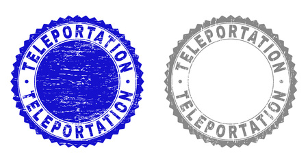 Grunge TELEPORTATION stamp seals isolated on a white background. Rosette seals with grunge texture in blue and grey colors. Vector rubber stamp imitation of TELEPORTATION tag inside round rosette.