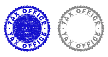 Grunge TAX OFFICE stamp seals isolated on a white background. Rosette seals with grunge texture in blue and gray colors. Vector rubber stamp imitation of TAX OFFICE label inside round rosette.