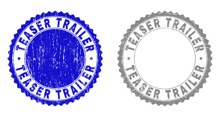 Grunge TEASER TRAILER stamp seals isolated on a white background. Rosette seals with grunge texture in blue and grey colors. Vector rubber stamp imprint of TEASER TRAILER tag inside round rosette.