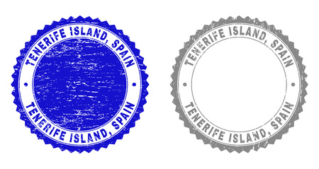 Grunge TENERIFE ISLAND, SPAIN stamp seals isolated on a white background. Rosette seals with grunge texture in blue and grey colors. Vector rubber watermark of TENERIFE ISLAND,