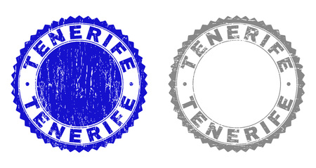 Grunge TENERIFE stamp seals isolated on a white background. Rosette seals with grunge texture in blue and gray colors. Vector rubber stamp imitation of TENERIFE title inside round rosette. Illustration