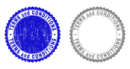 Grunge TERMS AND CONDITIONS stamp seals isolated on a white background. Rosette seals with distress texture in blue and gray colors.