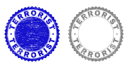 Grunge TERRORIST stamp seals isolated on a white background. Rosette seals with grunge texture in blue and gray colors. Vector rubber stamp imprint of TERRORIST label inside round rosette. Vectores