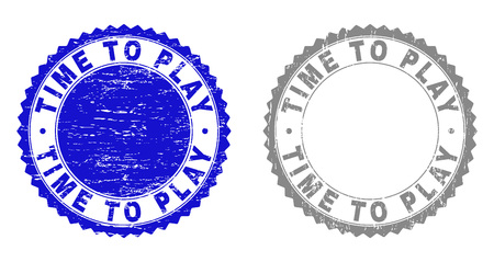 Grunge TIME TO PLAY stamp seals isolated on a white background. Rosette seals with grunge texture in blue and grey colors. Vector rubber stamp imprint of TIME TO PLAY tag inside round rosette.