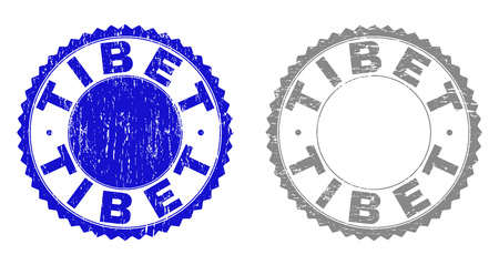 Grunge TIBET stamp seals isolated on a white background. Rosette seals with distress texture in blue and grey colors. Vector rubber stamp imprint of TIBET label inside round rosette.