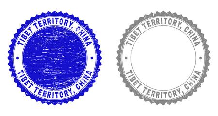 Grunge TIBET TERRITORY, CHINA stamp seals isolated on a white background. Rosette seals with grunge texture in blue and grey colors. Vector rubber overlay of TIBET TERRITORY,