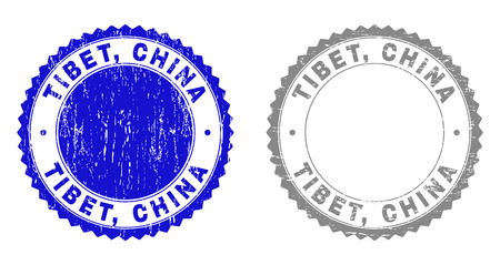 Grunge TIBET, CHINA stamp seals isolated on a white background. Rosette seals with grunge texture in blue and grey colors. Vector rubber stamp imprint of TIBET, CHINA text inside round rosette.  イラスト・ベクター素材