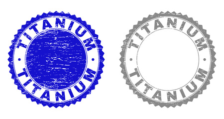 Grunge TITANIUM stamp seals isolated on a white background. Rosette seals with grunge texture in blue and grey colors. Vector rubber stamp imprint of TITANIUM tag inside round rosette.