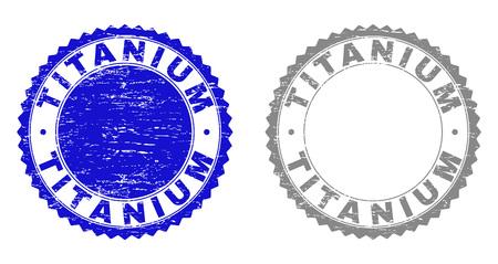 Sceaux de timbre en titane grunge isolés sur fond blanc. Joints de rosette avec texture grunge dans des couleurs bleues et grises. Empreinte de tampon en caoutchouc de vecteur d'étiquette de TITANE à l'intérieur de la rosette ronde.