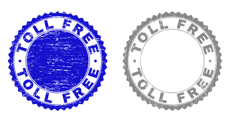 Grunge TOLL FREE stamp seals isolated on a white background. Rosette seals with grunge texture in blue and gray colors. Vector rubber stamp imitation of TOLL FREE label inside round rosette. 向量圖像