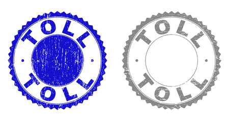 Grunge TOLL stamp seals isolated on a white background. Rosette seals with grunge texture in blue and grey colors. Vector rubber stamp imprint of TOLL text inside round rosette.