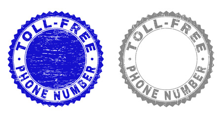 Grunge TOLL-FREE PHONE NUMBER stamp seals isolated on a white background. Rosette seals with distress texture in blue and gray colors.