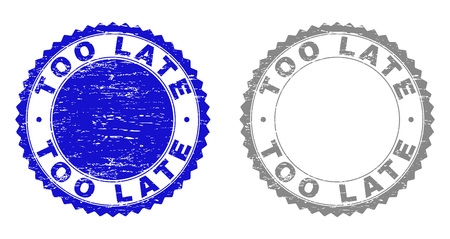 Grunge TOO LATE stamps isolated on a white background. Rosette seals with grunge texture in blue and gray colors. Vector rubber stamp imitation of TOO LATE tag inside round rosette. Stockfoto - 116743856