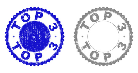 Grunge TOP 3 stamp seals isolated on a white background. Rosette seals with distress texture in blue and gray colors. Vector rubber stamp imprint of TOP 3 tag inside round rosette.