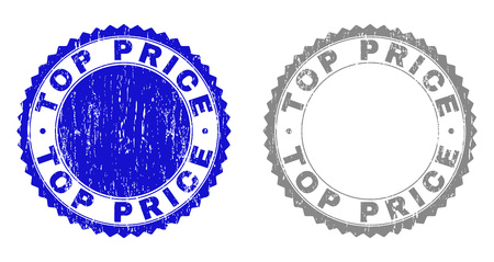 Grunge TOP PRICE stamp seals isolated on a white background. Rosette seals with grunge texture in blue and gray colors. Vector rubber stamp imprint of TOP PRICE label inside round rosette.