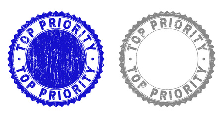 Grunge TOP PRIORITY stamp seals isolated on a white background. Rosette seals with distress texture in blue and gray colors. Vector rubber watermark of TOP PRIORITY tag inside round rosette. Illustration