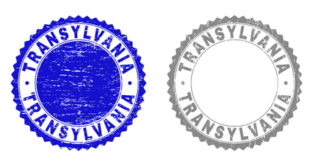 Grunge TRANSYLVANIA stamp seals isolated on a white background. Rosette seals with grunge texture in blue and gray colors. Vector rubber stamp imprint of TRANSYLVANIA label inside round rosette. Illustration