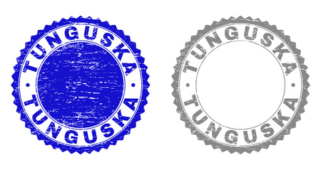 Grunge TUNGUSKA stamps isolated on a white background. Rosette seals with grunge texture in blue and grey colors. Vector rubber stamp imprint of TUNGUSKA title inside round rosette. Foto de archivo - 116745210