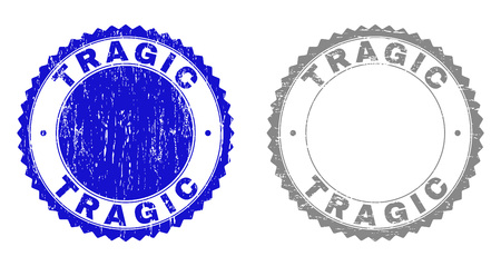 Grunge TRAGIC stamp seals isolated on a white background. Rosette seals with grunge texture in blue and gray colors. Vector rubber overlay of TRAGIC tag inside round rosette.