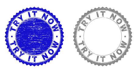 Grunge TRY IT NOW stamp seals isolated on a white background. Rosette seals with grunge texture in blue and gray colors. Vector rubber stamp imitation of TRY IT NOW tag inside round rosette.