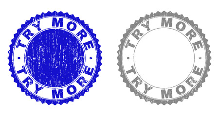 Grunge TRY MORE stamp seals isolated on a white background. Rosette seals with distress texture in blue and gray colors. Vector rubber stamp imprint of TRY MORE tag inside round rosette. Çizim