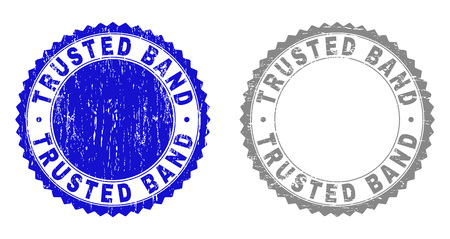 Grunge TRUSTED BAND stamp seals isolated on a white background. Rosette seals with grunge texture in blue and grey colors. Vector rubber stamp imprint of TRUSTED BAND title inside round rosette.