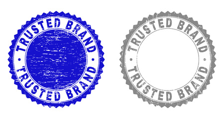 Grunge TRUSTED BRAND stamp seals isolated on a white background. Rosette seals with grunge texture in blue and gray colors. Vector rubber overlay of TRUSTED BRAND caption inside round rosette. Illustration