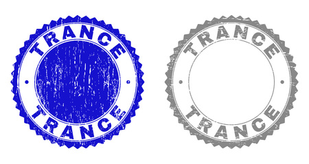 Grunge TRANCE stamp seals isolated on a white background. Rosette seals with distress texture in blue and gray colors. Vector rubber stamp imitation of TRANCE tag inside round rosette.