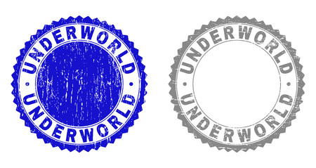 Grunge UNDERWORLD stamp seals isolated on a white background. Rosette seals with distress texture in blue and gray colors. Vector rubber stamp imitation of UNDERWORLD title inside round rosette. Foto de archivo - 116745088