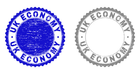 Grunge UK ECONOMY stamp seals isolated on a white background. Rosette seals with grunge texture in blue and gray colors. Vector rubber stamp imitation of UK ECONOMY tag inside round rosette.