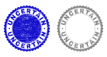 Grunge UNCERTAIN stamp seals isolated on a white background. Rosette seals with grunge texture in blue and gray colors. Vector rubber stamp imprint of UNCERTAIN tag inside round rosette.