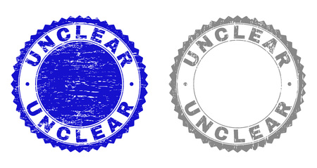 Grunge UNCLEAR stamp seals isolated on a white background. Rosette seals with grunge texture in blue and grey colors. Vector rubber stamp imprint of UNCLEAR label inside round rosette.